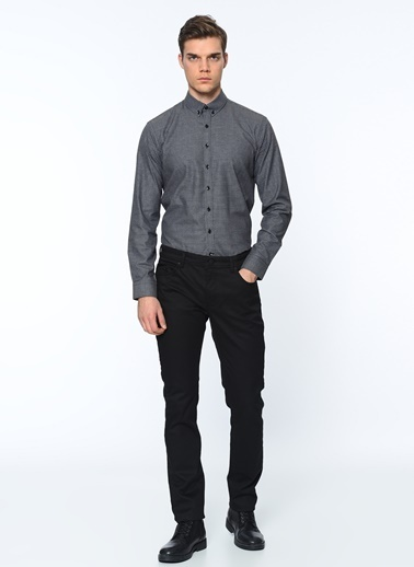 George Hogg Slim Fit Ekose Gömlek Siyah
